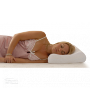 Tranquillow Contoured Pillow girl sleeping on her side in a pink nightie